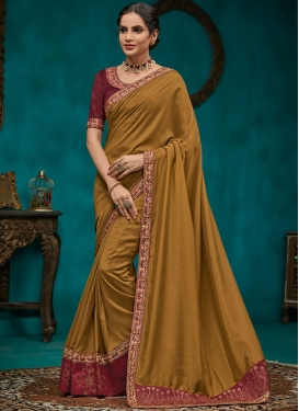 Opulent Olive Embroidered Poly Silk Traditional Designer Saree