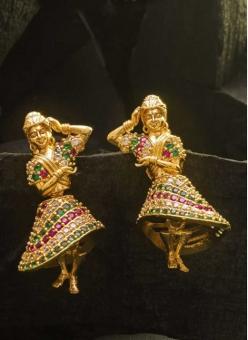 Opulent Stone Work Gold Rodium Polish Earrings