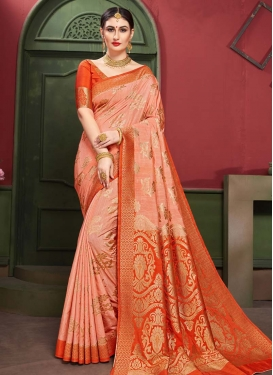 Orange and Peach Designer Contemporary Style Saree For Ceremonial