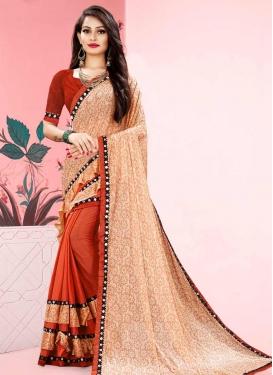 Orange and Peach Half N Half Designer Saree