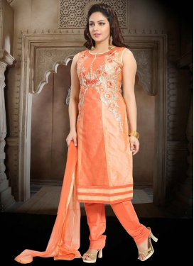 Orange and Peach Net Readymade Churidar Salwar Kameez