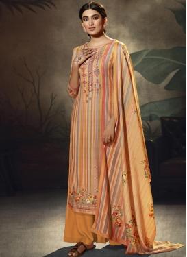 Orange and Peach Pasmina Palazzo Style Pakistani Salwar Kameez