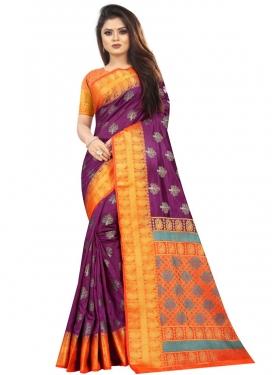 Orange and Purple Art Silk Designer Contemporary Style Saree