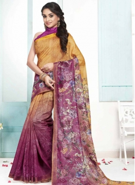 Orange and Purple Cotton Designer Contemporary Style Saree