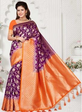 Orange and Purple Woven Work Designer Contemporary Style Saree