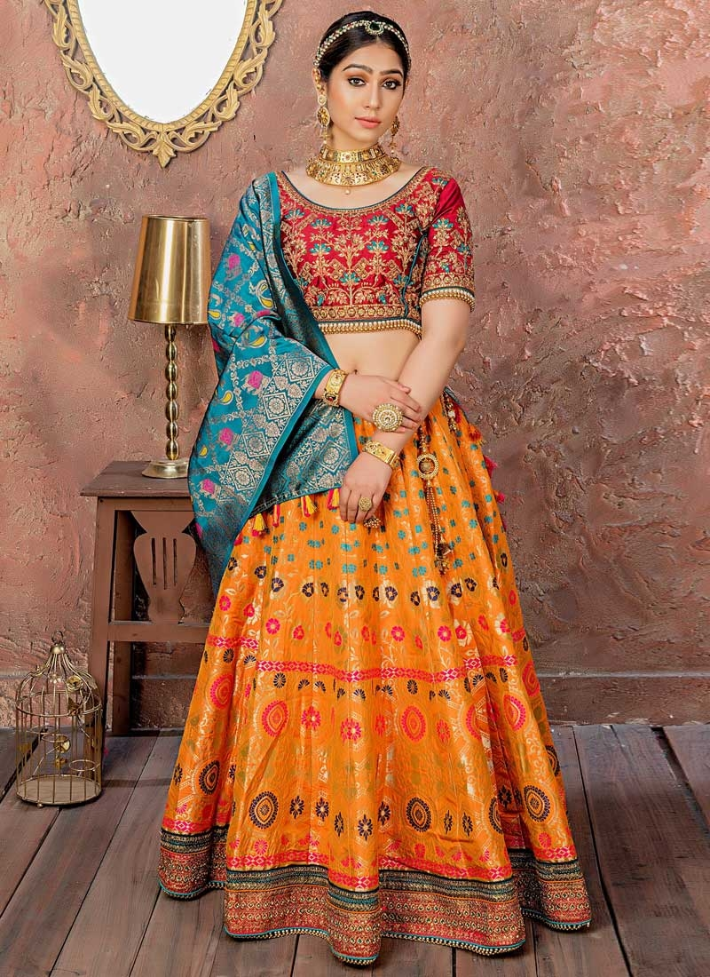 Orange and Red A - Line Lehenga