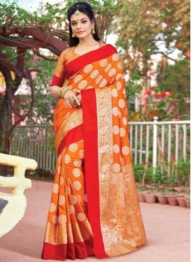 Orange and Red Art Silk Classic Saree