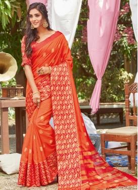 Orange and Red Art Silk Designer Contemporary Saree
