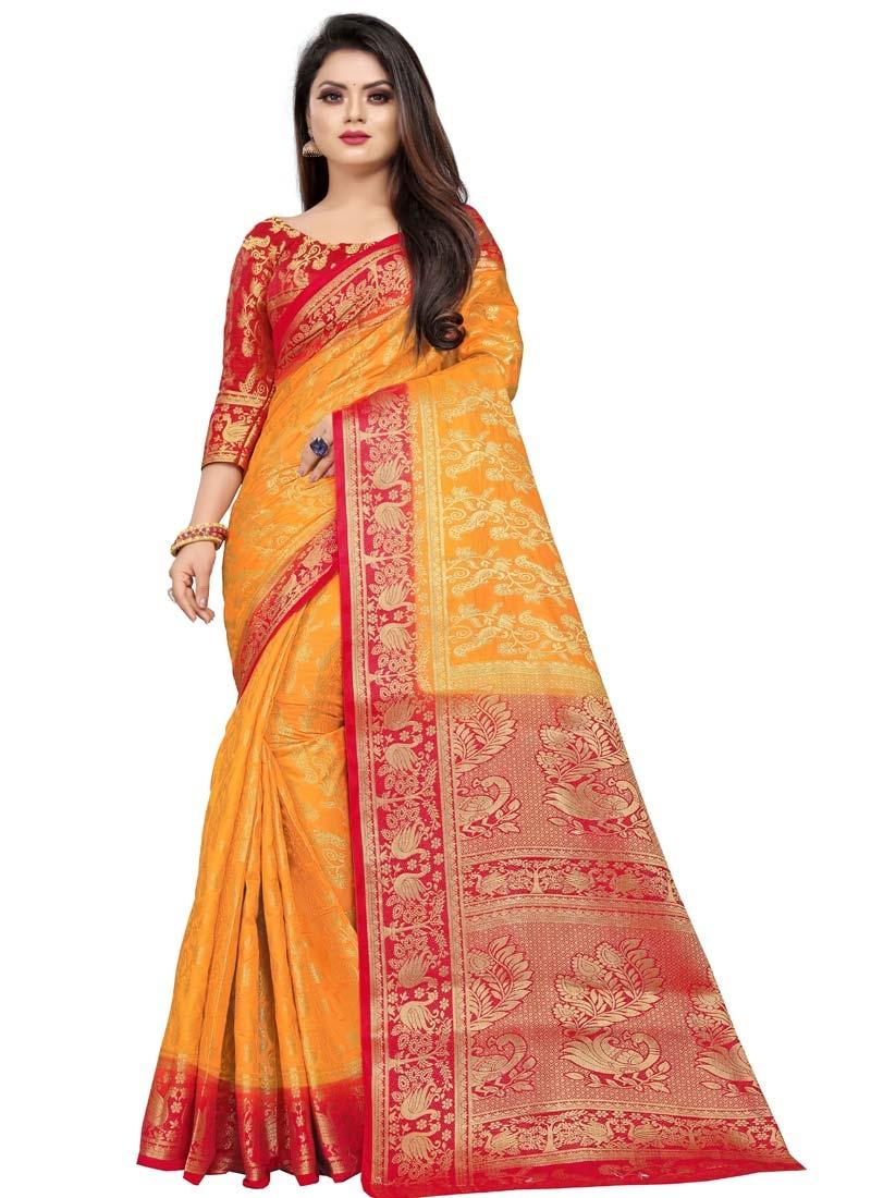 Orange and Red Art Silk Designer Traditional Saree