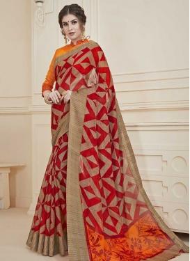 Orange and Red Art Silk Traditional Designer Saree