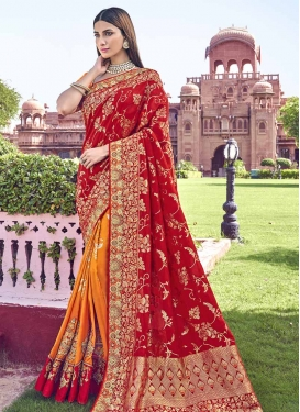 Orange and Red Banarasi Silk Designer Half N Half Saree