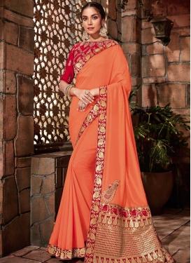 Orange and Red Booti Work Brocade Trendy Classic Saree