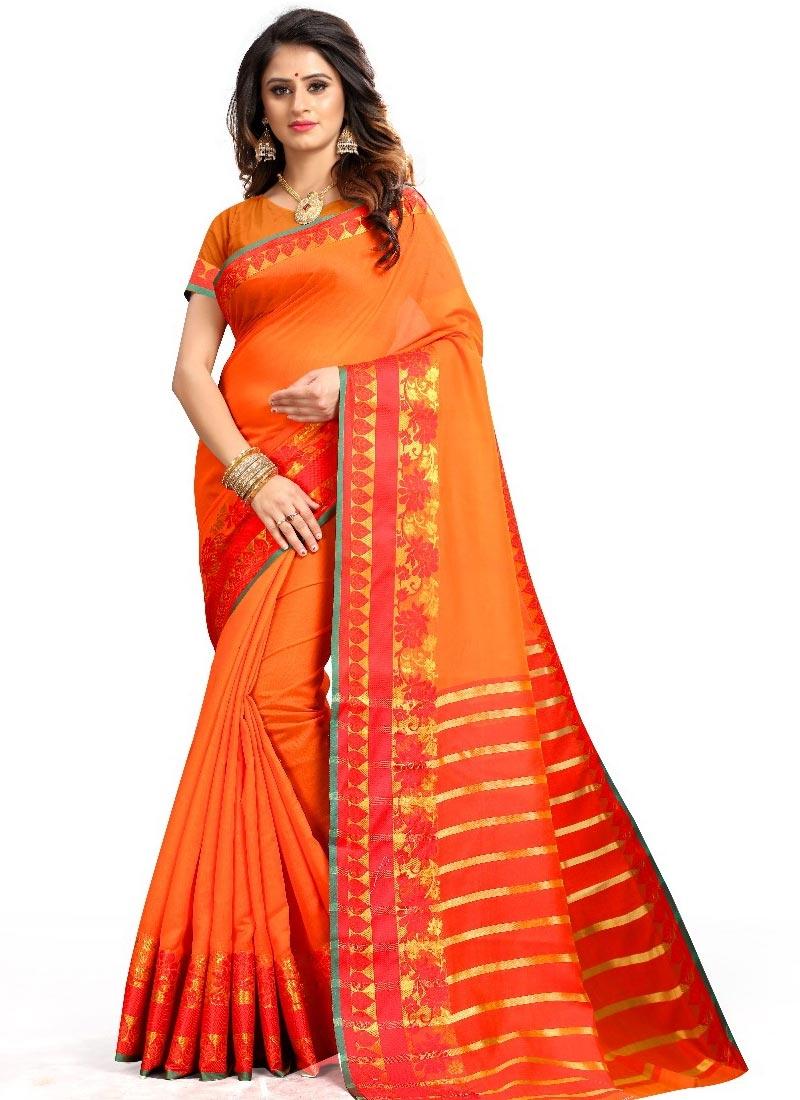 Orange and Red Chiffon Satin Traditional Designer Saree