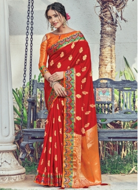 Orange and Red Contemporary Style Saree For Ceremonial