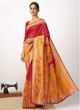 Orange and Red Cotton Silk Designer Contemporary Saree