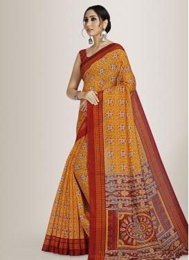 Orange and Red Cotton Silk Designer Contemporary Style Saree