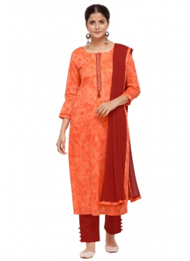 Orange and Red Cotton Silk Pant Style Pakistani Suit