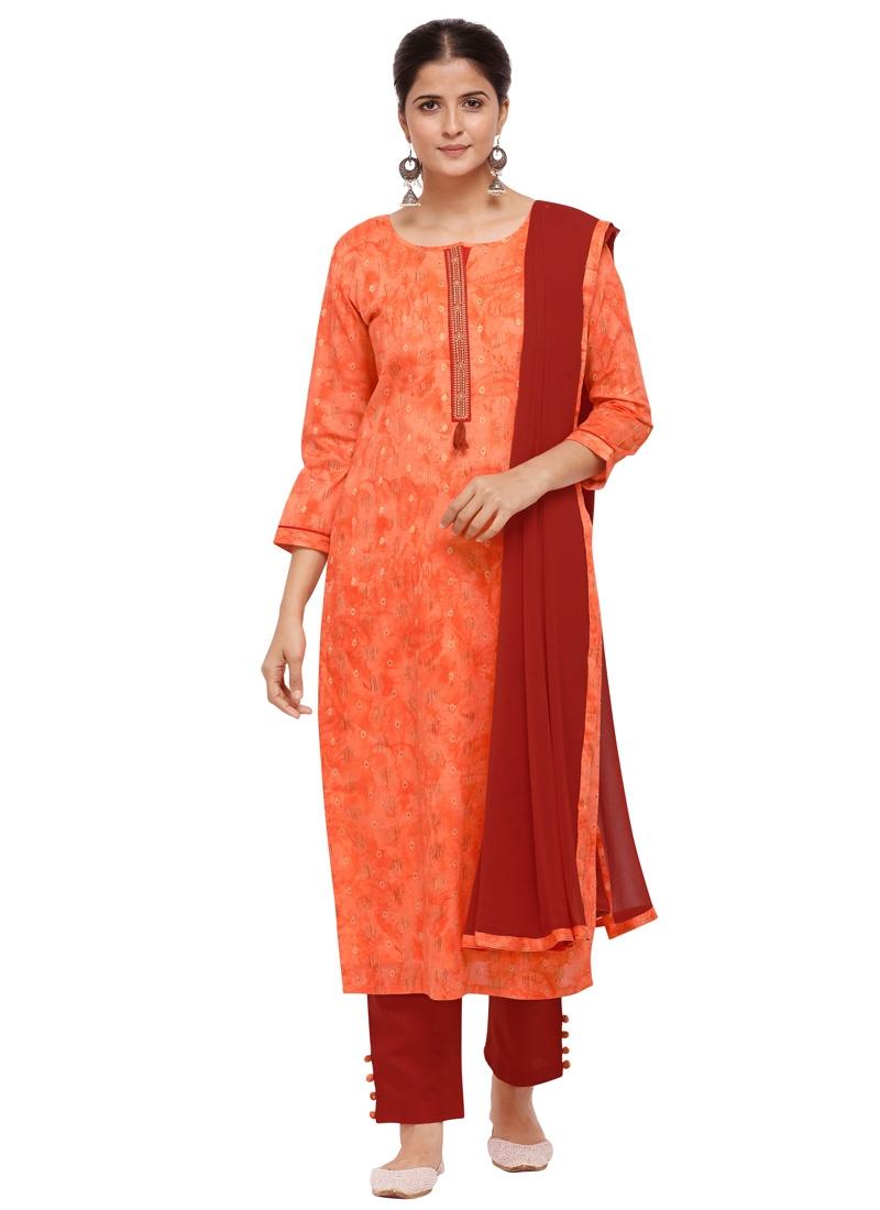 Orange and Red Cotton Silk Pant Style Pakistani Suit