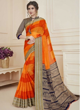 Orange and Red Designer Traditional Saree For Casual