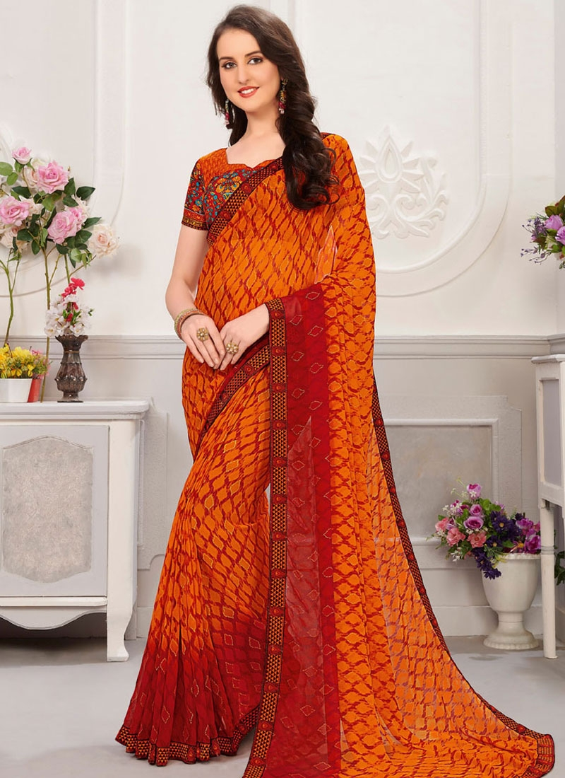 Orange and Red Digital Print Work Designer Contemporary Style Saree