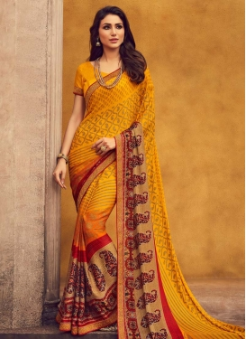 Orange and Red Digital Print Work Faux Georgette Traditional Designer Saree