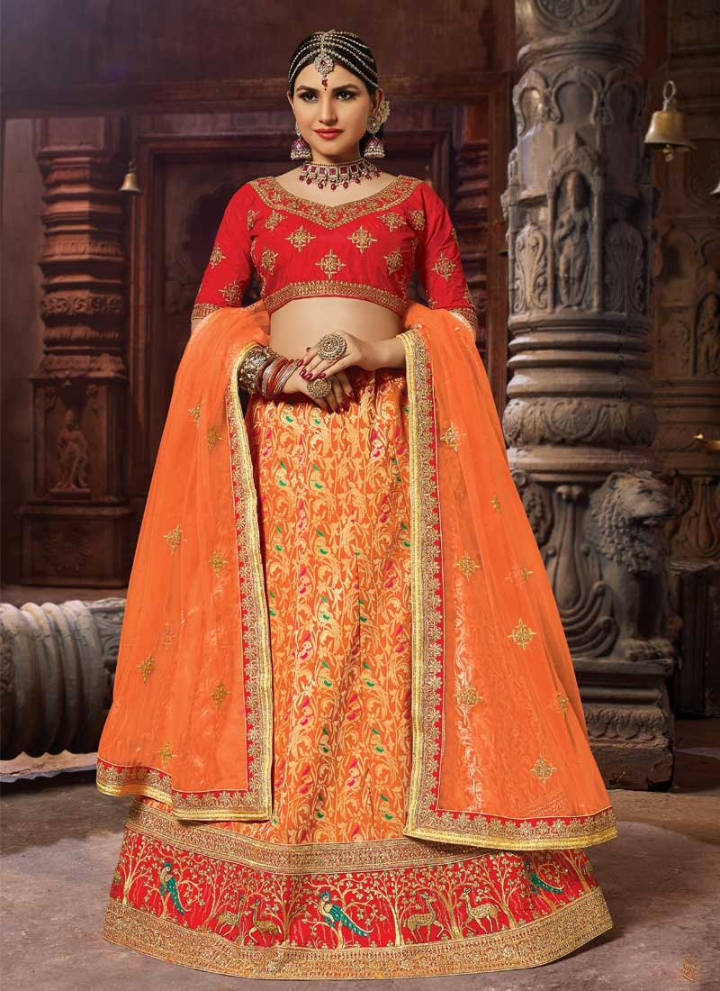 Orange and Red Embroidered Work A Line Lehenga Choli