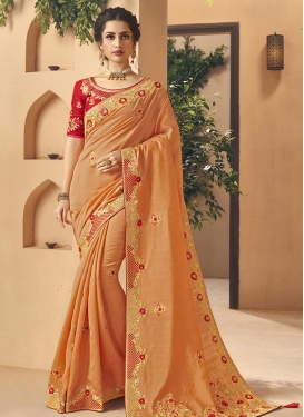 Orange and Red Embroidered Work Classic Saree
