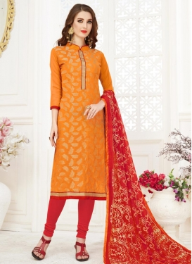 Orange and Red Embroidered Work Trendy Churidar Salwar Suit