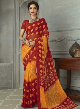 Orange and Red Faux Chiffon Contemporary Style Saree
