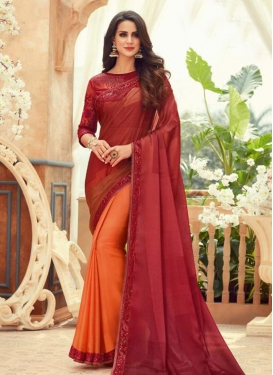 Orange and Red Half N Half Trendy Saree