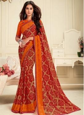 Orange and Red Traditional Designer Saree