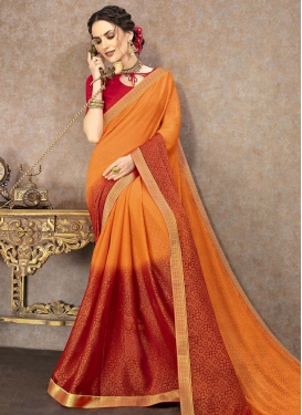 Orange and Red Traditional Designer Saree