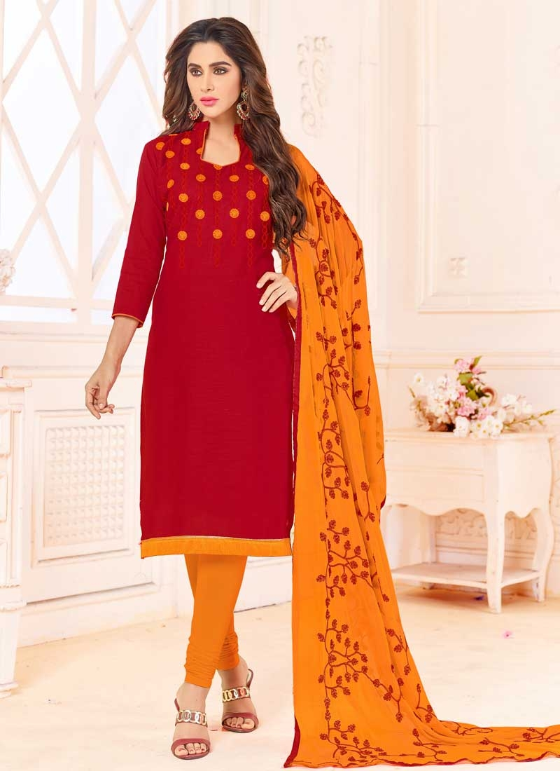 Orange and Red Trendy Churidar Salwar Kameez For Casual