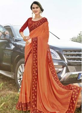 Orange and Red Trendy Classic Saree For Ceremonial