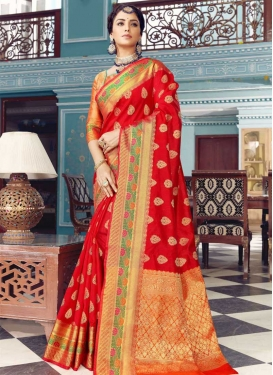 Orange and Red Trendy Classic Saree For Festival
