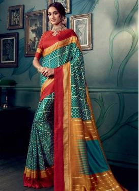 Orange and Red Trendy Designer Saree