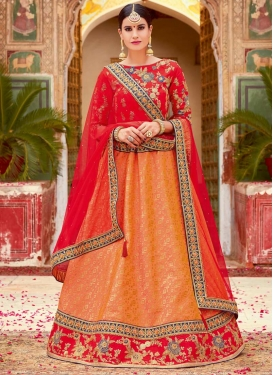 Orange and Red Trendy Lehenga Choli For Festival
