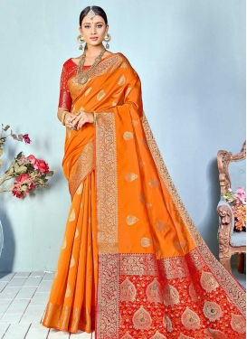 Orange and Red Woven Work Cotton Silk Traditional Designer Saree