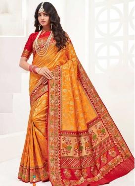 Orange and Red Woven Work Designer Contemporary Saree