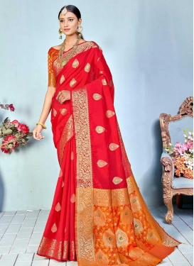 Orange and Red Woven Work Designer Contemporary Saree
