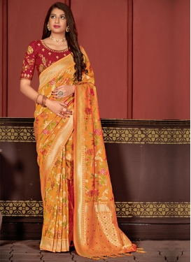 Orange and Red Woven Work Traditional Designer Saree