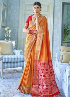 Orange and Red Woven Work Tussar Silk Designer Contemporary Saree