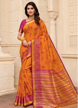 Orange and Rose Pink Art Silk Designer Traditional Saree