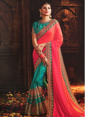 Orange and Rose Pink Art Silk Half N Half Saree For Ceremonial