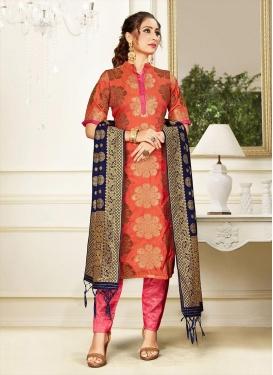 Orange and Rose Pink Art Silk Pant Style Salwar Suit