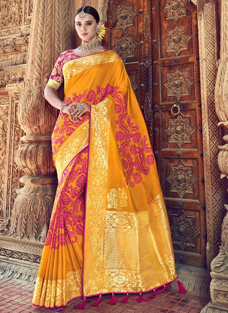 Orange and Rose Pink Banarasi Silk Designer Contemporary Saree