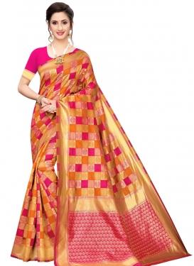 Orange and Rose Pink Banarasi Silk Traditional Designer Saree For Casual