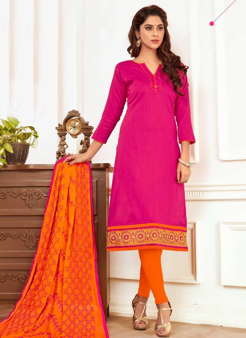 Orange and Rose Pink Churidar Salwar Kameez For Casual