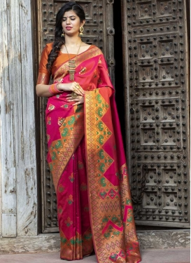 Orange and Rose Pink Digital Print Work Designer Contemporary Style Saree