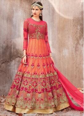 Orange and Rose Pink Embroidered Work Floor Length Anarkali Salwar Suit
